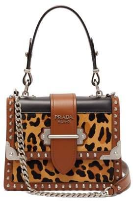 Prada Cahier Leopard Print And Leather Shoulder Bag - Womens - Leopard