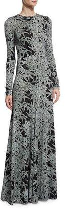 Diane von Furstenberg Leaf-Print Silk Long-Sleeve Gown, Black/Gray $998 thestylecure.com