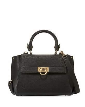 Salvatore Ferragamo Sofia Small Leather Satchel Bag, Nero $1,950 thestylecure.com
