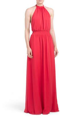 Double Layer Chiffon Halter Maxi Dress