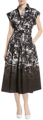 Michael Kors Dip-Dye Tie-Waist Button-Front Printed Shirtdress
