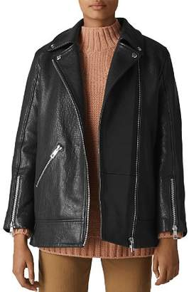 Whistles Pebbled Leather Jacket