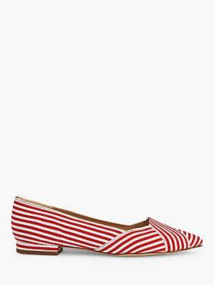 LK Bennett L.K.Bennett Savannah Flat Court Shoes, Red/White