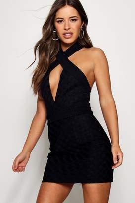 boohoo Petite Halter Neck Corded Lace Bodycon Dress