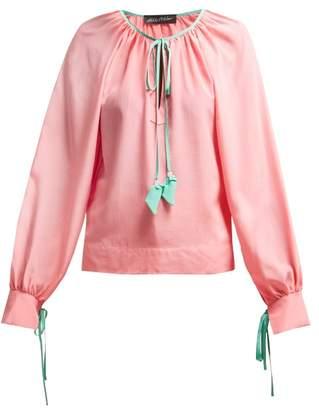 Anna October - Contrast Trim Silk Blouse - Womens - Pink Multi