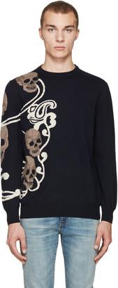 Alexander McQueen Navy Jacquard Skull Pullover $735 thestylecure.com