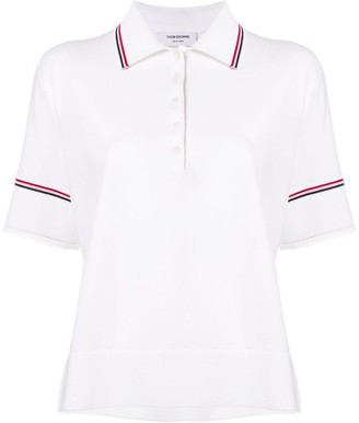 Thom Browne Tipping Stripe Boxy Polo Shirt