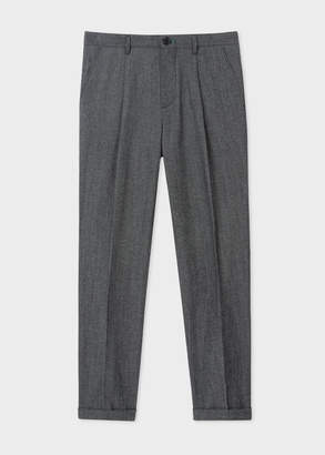 Paul Smith Men's Dark Grey Marl Pleated Wool And Cotton Pants