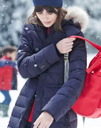 Joules Sefton Water Resistant Longline Padded Jacket with Faux Fur Hood Trim