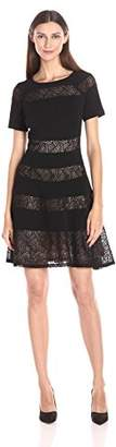 Jax Women's Short Sleeve Fit and Flace with Lace Insets $118 thestylecure.com