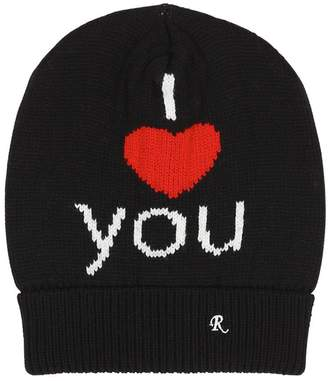 Raf Simons I Love You Jacquard Wool Beanie Hat