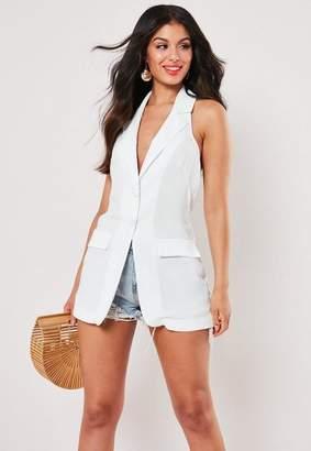 Missguided White Tuxedo Sleeveless Button Front Blazer