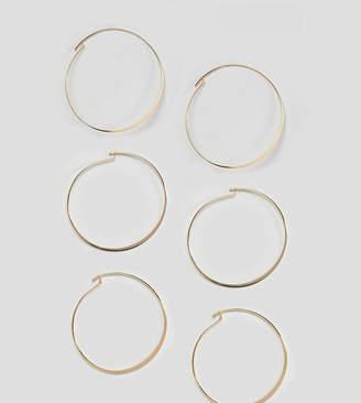 Asos Design DESIGN Pack Of 3 Fine Flat Hoop Earrings