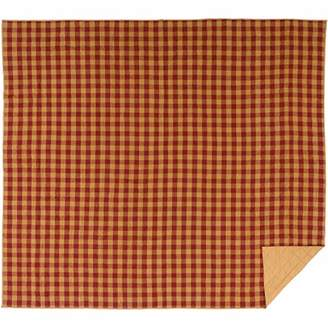 VHC Brands Primitive Bedding Burgundy Cotton Pre-Washed Check California King Coverlet