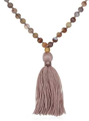 Satya Jewelry Womens Botswana Agate Gold Lotus Mala Necklace 30-Inch
