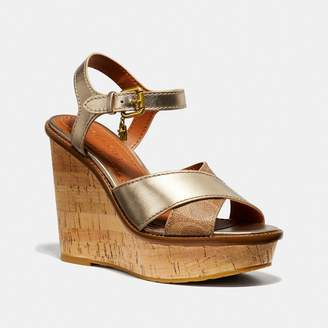 Coach Cross Band High Wedge Sandal