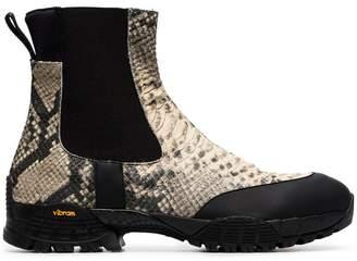 Alyx black Vibram snake print leather chelsea boots