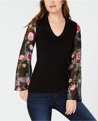 INC International Concepts I.n.c. Petite Floral-Sleeve Sweater