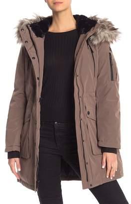 BCBGeneration Missy Snap Front Faux Fur Trim Hooded Parka