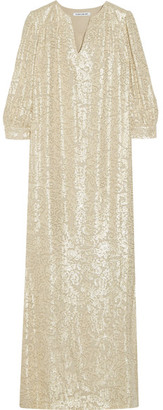 Elizabeth and James - Melaney Metallic Fil Coupé Silk-blend Kaftan - Beige $595 thestylecure.com
