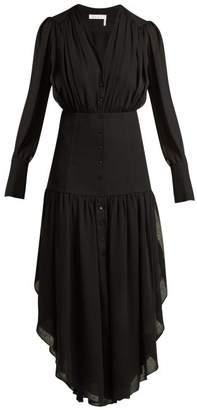 Chloé Asymmetric Mousseline Midi Dress - Womens - Black
