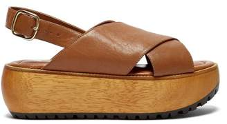 Marni Cross Strap Grained Leather Flatform Sandals - Womens - Tan