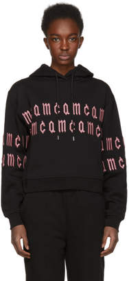 McQ Black Cropped Repeat Logo Hoodie