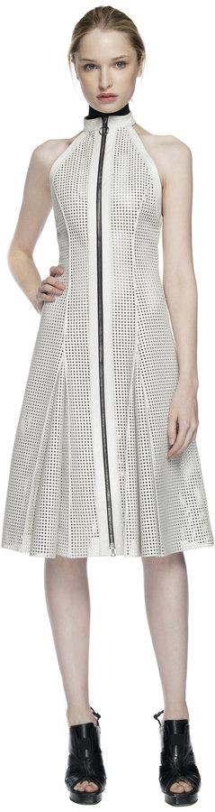 Proenza Schouler Chalk Sleeveless Halter Neck Zip Front Dress