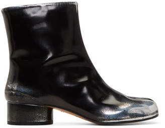 Maison Margiela Black and Silver Spray Mid Heel Tabi Boots