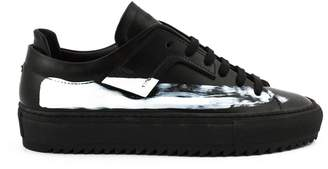Oamc Sneaker In Black Leather With Paint Stripe.