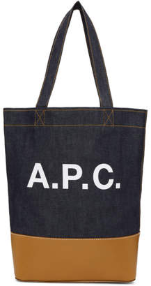 A.P.C. Navy and Tan Denim Axel Tote
