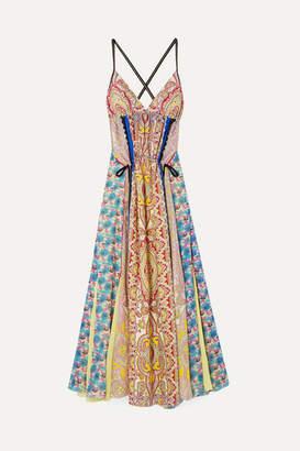 Etro Open-back Printed Silk-crepe Maxi Dress - Pink