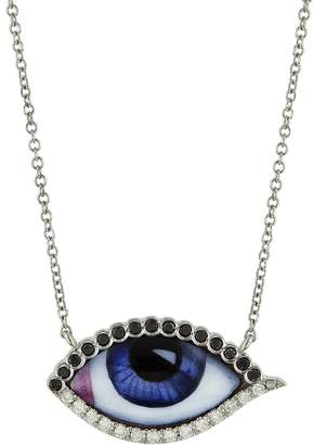 Black Diamond Lito Fine Jewelry Petit Bleu Enamel and Evil Eye Necklace - White Gold