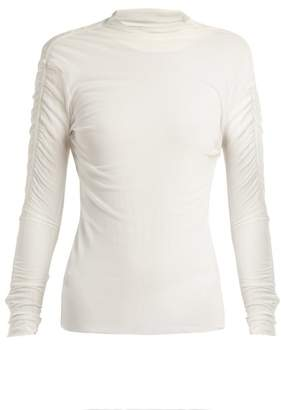 Jil Sander High Neck Stretch Tulle Top - Womens - White