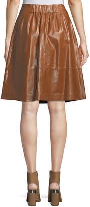 Lafayette 148 New York Noellene A-line Pull-On Leather Skirt