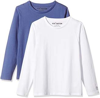 Kid Nation Kids' 2-Pack 100% Cotton Tag-Free Long Sleeve Crewneck T-Shirt Top for Boys or Girls M