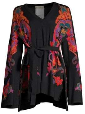 Etro Paisley Belted Knit Top