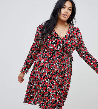 Glamorous Curve floral and polka dot ruffle wrap dress