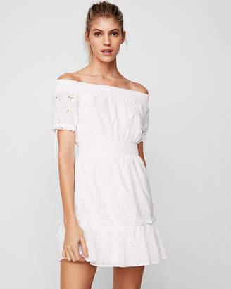 Express Off The Shoulder Smocked Eyelet Mini Dress