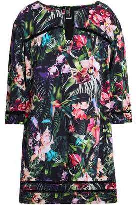 Jets Crochet-trimmed Floral-print Woven Coverup
