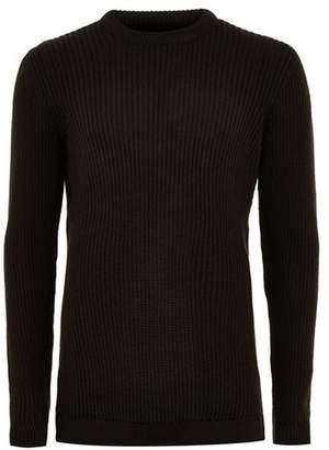 Topman Mens Black Textured Sweater