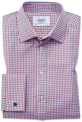Charles Tyrwhitt Extra Slim Fit Two Color Check Red and Blue Cotton Dress Shirt French Cuff Size 16/33