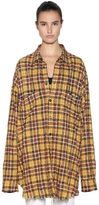 Faith Connexion Oversize Studded Check Cotton Shirt