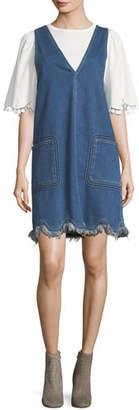 See by Chloe Scalloped Denim Jumper Dress
