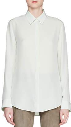 The Row Petah Button-Front Long-Sleeve Silk Shirt