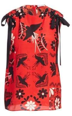 RED Valentino Women's Decorated Terrace Sleeveless Silk Top - Red - Size 38 (0)