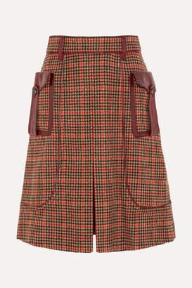 Prada Leather-trimmed Checked Wool-blend Tweed Skirt - Orange