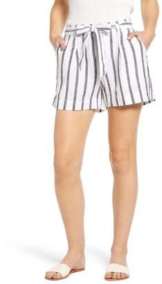 Sanctuary Inland Stripe Tie Waist Linen Blend Shorts