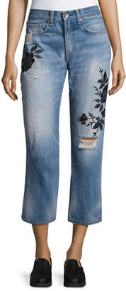 Rag & Bone Ramona Embroidered Marilyn Crop Jeans, Indigo