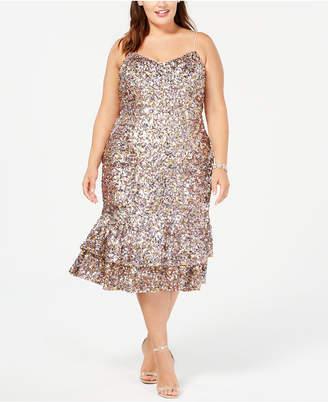 Adrianna Papell Plus Size Multicolored Sequin Midi Dress